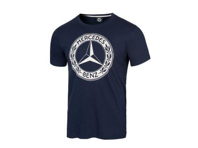 T-shirt bleu Mercedes logo vintage