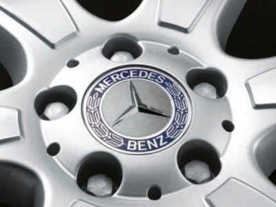 Cache moyeu Mercedes-Benz - Jante alu - étoile couronne lauriers - bleu