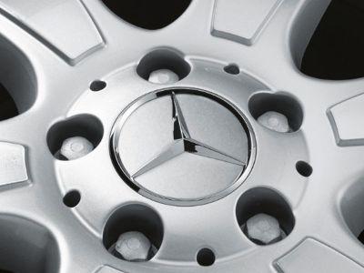Cache moyeu Mercedes-Benz - jante alu - étoile chromée - gris clair