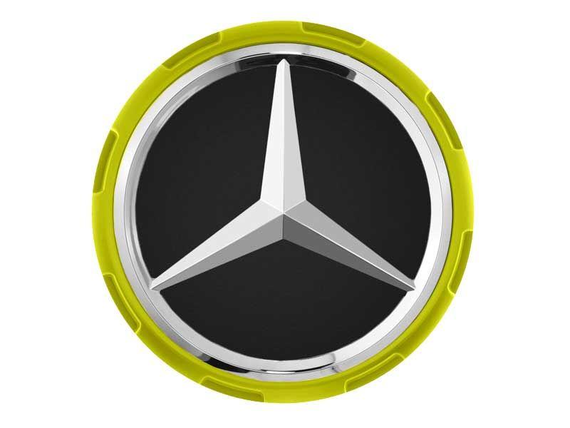 Cache-moyeu Mercedes-Benz AMG 75mm contour jaune