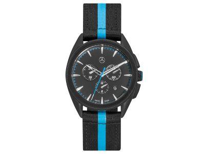 Montre chrono Mercedes-Benz noir et bleu homme, sport fashion