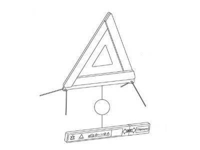 Triangle de signalisation avec son logement