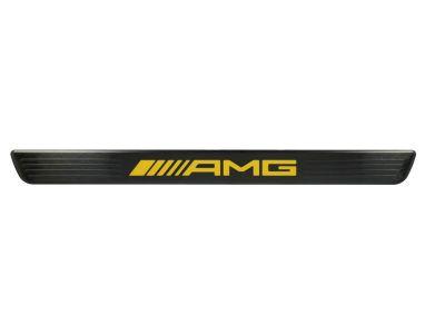 Cache pour baguette de seuil éclairée AMG - Noir logo Jaune - avant - 2 unités