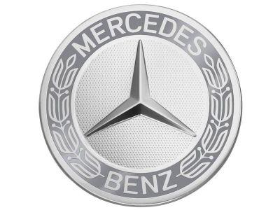 Cache moyeu couronne de lauriers, Design classique Coloris bleu Mercedes-Benz - 1 unité